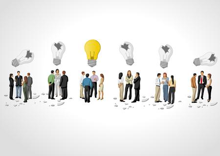 personas pensando: Plantilla con grupos de personas de negocios de pensamiento Idea de la bombilla Vectores