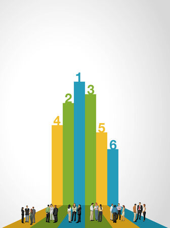Template for advertising brochure with business people on bar chart Vector