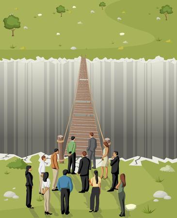 Business-Männer vor einem alten Holzbrücke über Abgrund