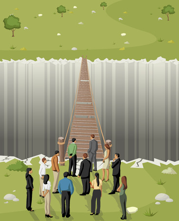 Business men in front of a old wooden bridge over abyss