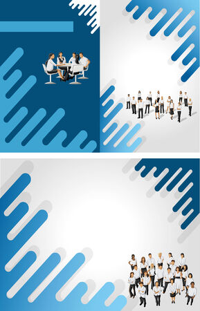 coworker banner: Black and green template for advertising brochure with business people