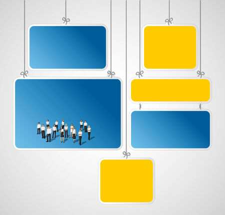 coworker banner: Blue and yellow boards with business people Illustration