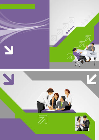 Green and purple template for advertising brochure with business people Vector