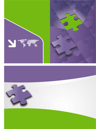 green and purple template for advertising brochure with puzzle pieces Vector