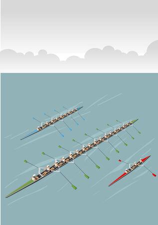 Race of men rowing team  Working together  Vector