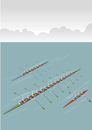 rowing: Race of men rowing team  Working together  Illustration