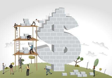 Business people building a money symbol