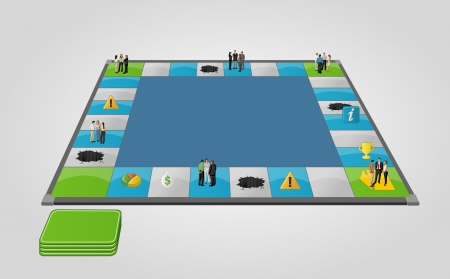 walk board: Board game with business people over path