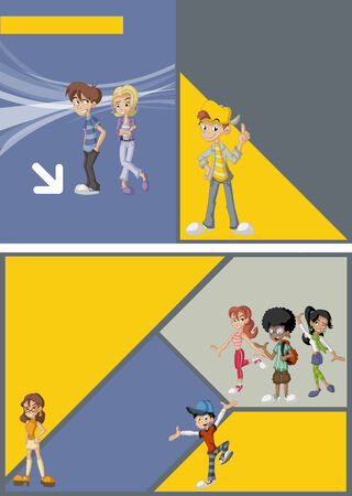 Gray and yellow template for advertising brochure with young people  Teenagers  Vector