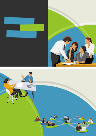 for advertising: Green and blue template for advertising brochure with business people Illustration