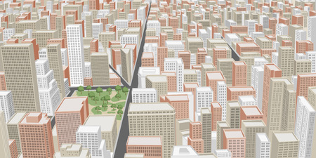 Big city with buildings  Downtown  Vector