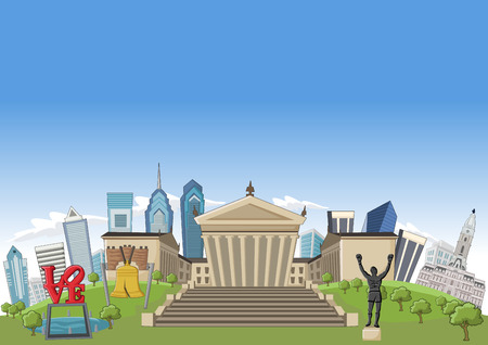 bell: Cartoon skyline view of Philadelphia with landmarks, Pennsylvania - USA