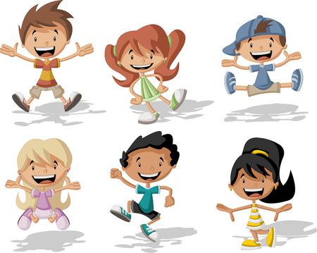 행복 한 만화 어린이의 그룹 점프