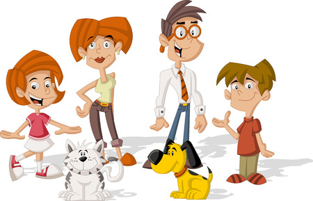 family with dog: Colorful cute happy cartoon family Illustration