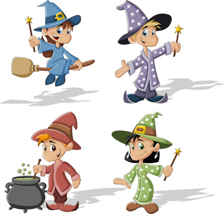 cauldron: Cartoon wizard boys and witch girls  Halloween costume  Illustration