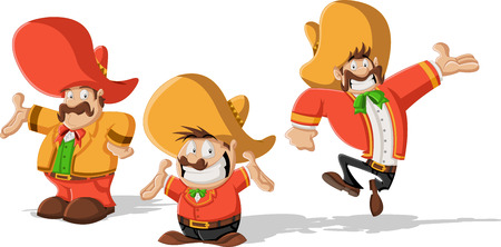 Three cartoon mexican mariachis with sombrero Vector