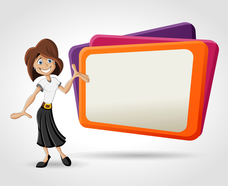 presentation screen: Colorful template with happy cartoon woman and billboard  Presentation screen