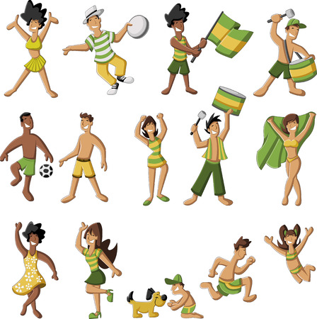 people having fun: Group of cartoon brazilian people having fun Illustration