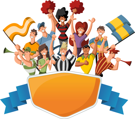 cheering: Group of cartoon sport fans and supporters cheering