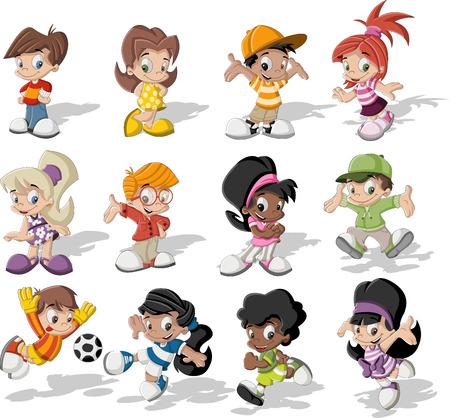 niños jugando caricatura: Grupo de niños felices jugando dibujos animados Vectores