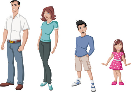 brother and sister cartoon: Happy cartoon family  White people