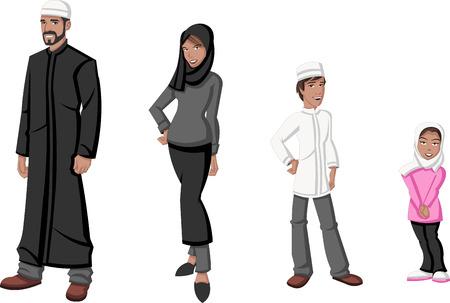 Famille heureuse de bande dessinée musulmans