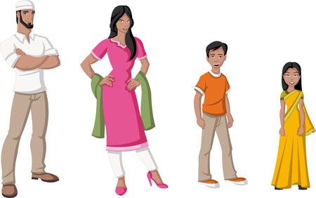 Happy cartoon family  Indian people