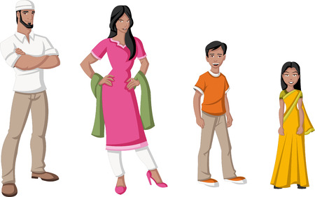 Happy cartoon family  Indian people