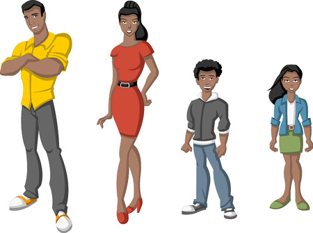happy black people: Happy cartoon african family  Black people
