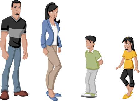 latin family: Happy cartoon latin family  Spanish people  Illustration