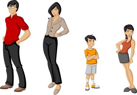 asian happy family: Happy cartoon family  Asian people