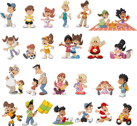irm�o: Grupo de desenhos animados bonitos pessoas felizes