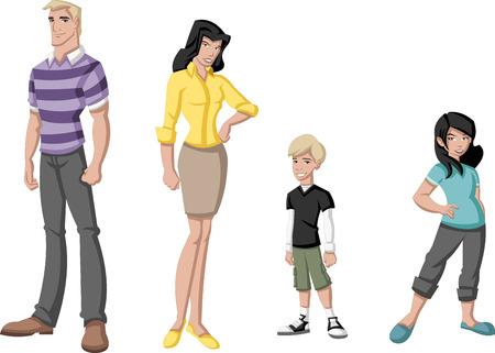 happy people: Happy cartoon family  White people