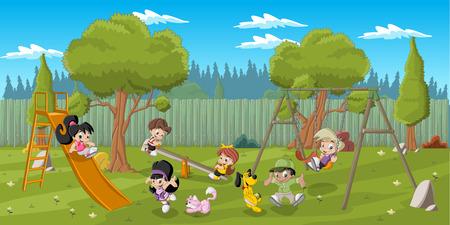 lazer: Miúdos dos desenhos animados felizes bonitos que jogam no parque no quintal Ilustração