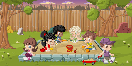 Cute happy cartoon kids playing in sandbox on the backyard Ilustracja