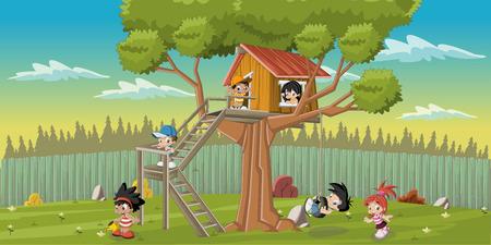 Cute happy cartoon kinderen spelen in het huis van de boom op de achtertuin Vector Illustratie