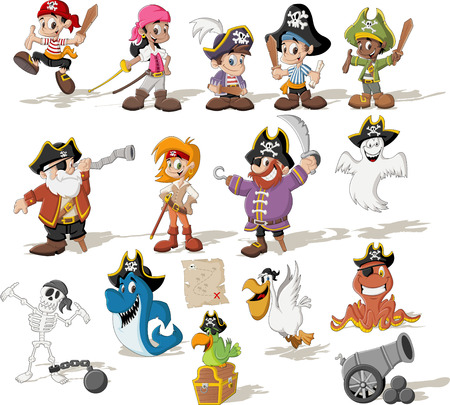 a cannon: Group of cartoon pirates with funny animals