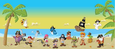 Group of cartoon pirates with funny animals on a beautiful tropical beach Vector