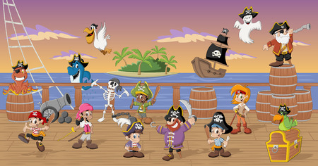 Group of cartoon pirates with funny animals on a decks of a ship Illustration