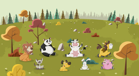 green park: Group of happy cartoon animals pet on green park Illustration