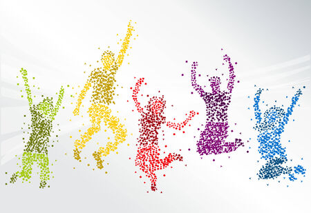 happy people: Group of colorful happy people jumping Illustration