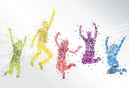 Grupo de gente feliz saltando de colores Foto de archivo - 30634360