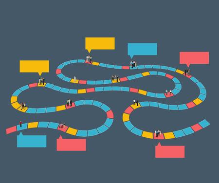 brettspiel: Brettspiel mit Gesch�ftsleuten �ber den Weg Illustration