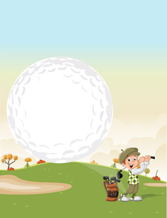 Cartoon golfer boy shooting a golf ball on green course Ilustração