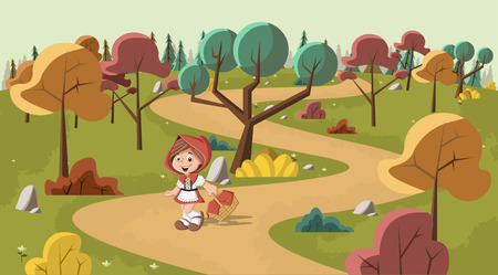 Cute cartoon little red riding hood in the wood with a basket in hands Illustration