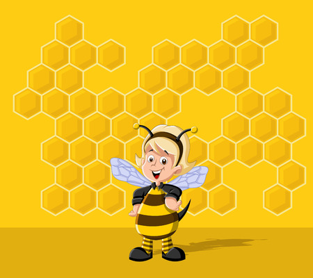 beehive: Cartoon bee girl in front of a honeycomb. Bee hive.