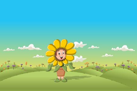 Sunflower cartoon girl on green park Vector