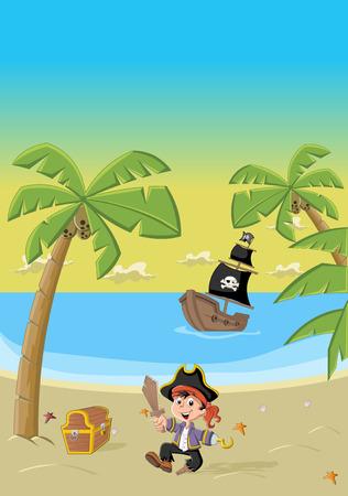 Cartoon pirate boy on a beautiful tropical beach Vector