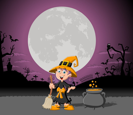 Cartoon witch girl on halloween cemetery background Vector