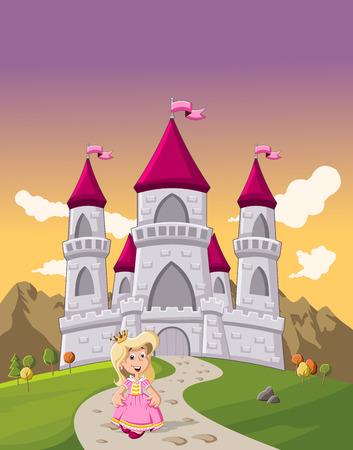 castillos de princesas: Chica linda princesa de dibujos animados en frente de un castillo de cuento de hadas